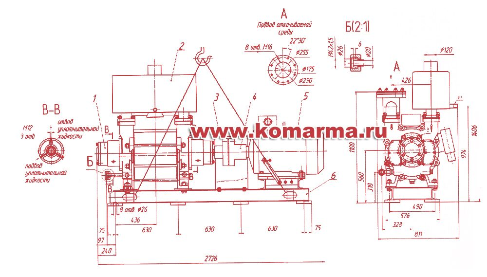 Габаритный чертеж насоса вакуумного водокольцевого 2ВВН1-12М-0,5. gabaritnyy-chertyozh-nasosa-2vvn1-12m-05.jpg.