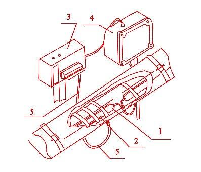 Вариант подключения нагревателей к коробке с установкой монометрического электроконтактного термометра: 1...